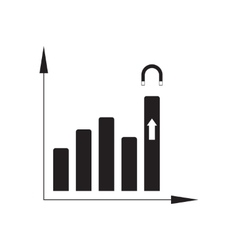 Flat icon in black and white financial graph vector image