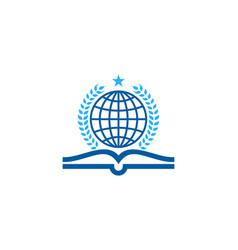 Globe book logo icon design vector