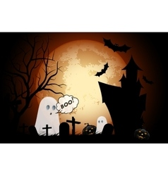 Halloween Background with Haunted House vector