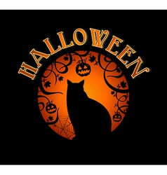 Happy Halloween text spooky forest and black cat vector