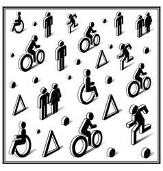 Isometric traffic icons vector