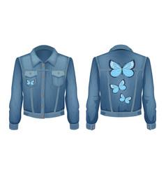 Jacket made denim patch vector