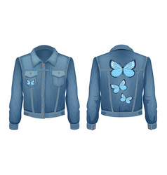 Jacket made of denim patch vector