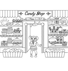 Kids coloring girl in candy shop vector