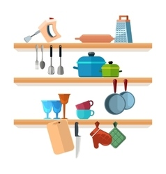 Kitchen shelves with cooking tools and hanging vector image