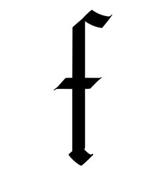 Letter f in gothic style alphabet symbol vector