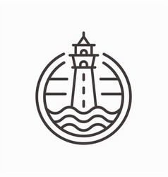 lighthouse line icon on white background vector image