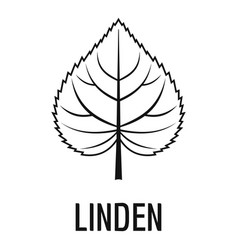 linden leaf icon simple black style vector image