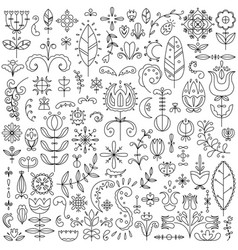 line set of 90 scandinavian elements vector image