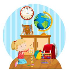 Little girl plays blocks in room vector