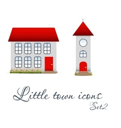 Little town icons set vector image