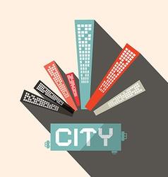 Long Shadow Flat Design City vector image