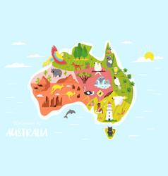 Map australia with animals symbols vector