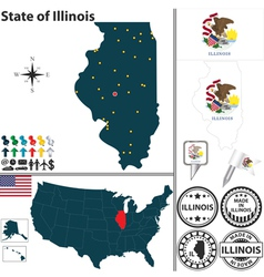 Map of Illinois vector