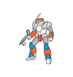 Mecha Robot Holding Ray Gun Isolated vector