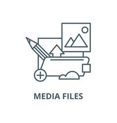 media files line icon linear concept vector image
