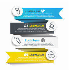 medical ribbon infographic and line icon vector image