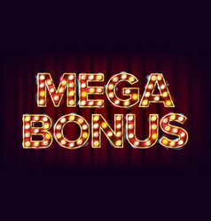 mega bonus banner casino vintage golden vector image