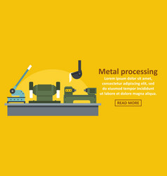 Metal processing factory banner horizontal concept vector