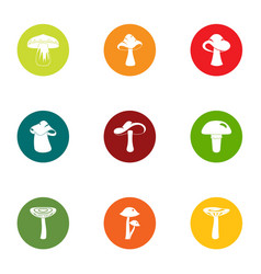 Mushroom colony icons set flat style vector