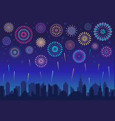 night city fireworks holiday celebration firework vector image