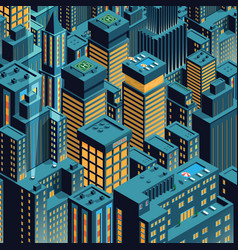 Night new york isometric perspective cartoon vector