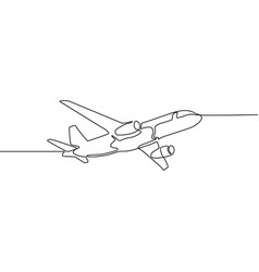 one line airplane isolated on white background vector image