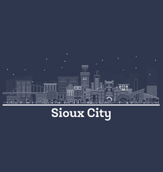 outline sioux city iowa skyline with white vector image