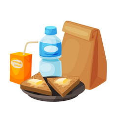 paper bag package with healthy breakfast plastic vector image