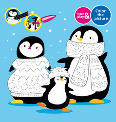 Penguin family in knitted scarves and hats learn vector