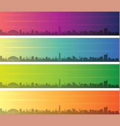 raleigh multiple color gradient skyline banner vector image
