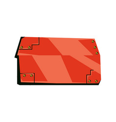 red blank plate with screws technology board vector image