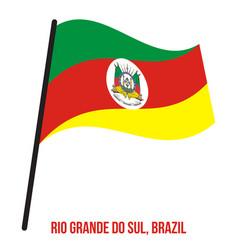 Rio grande do sul flag waving on white background vector