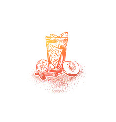 Sangria summer beverage with red wine fruits vector