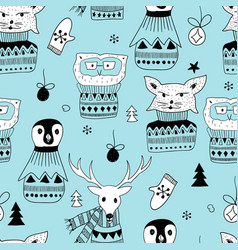 seamless pattern with doodle animals vector image
