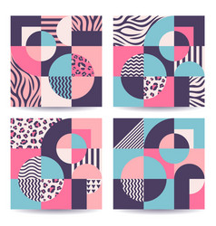set abstract trendy colorful geometric vector image