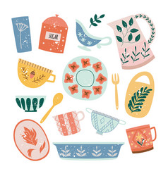 set ceramic tableware or crockery in flat vector image