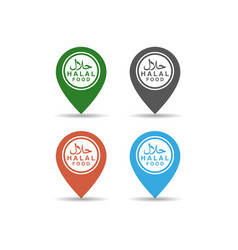 set halal logo design on map pin halal food vector image