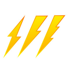 set of 3 lighting bolt spark icon electricity vector image
