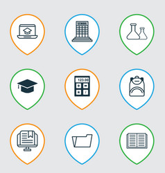 Set of 9 education icons includes academy vector