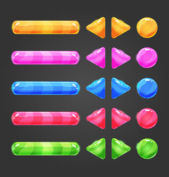 Set of game interface button color vector