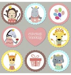 Set of tags with princess theme vector image