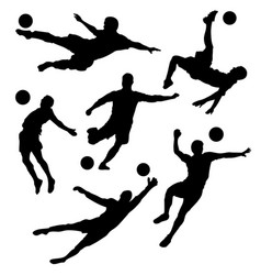 silhouette a football player set vector image