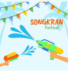 songkran or water festival thailand vector image