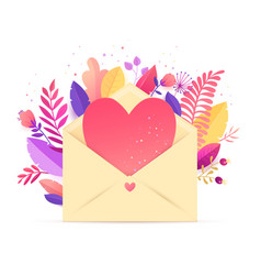spring floral heart bouquet in envelope vector image