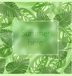 summer here lettering in a frame on the vector image