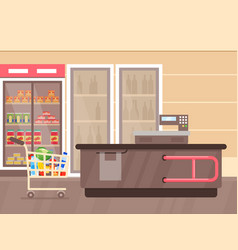 supermarket interior with vector image
