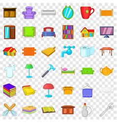 sweet house icons set cartoon style vector image