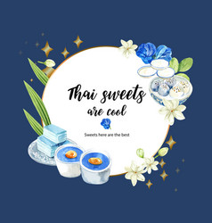 Thai sweet wreath design with pudding layered vector