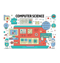 Thin line computer science poster banner vector